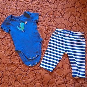 Boys 0-3 month dinosaur onesie and pant set